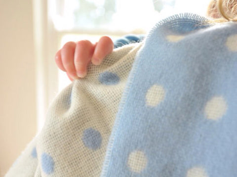 Blue Spot Baby Luxurious Lambswool Blanket