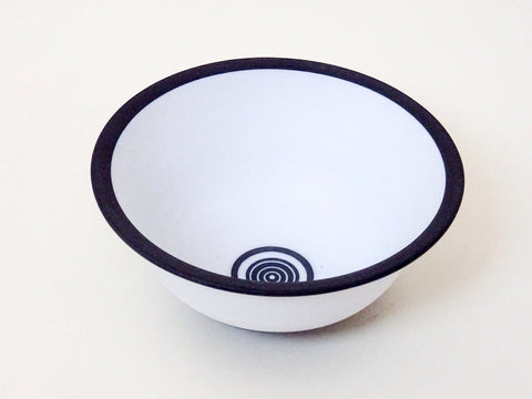 Handmade monochrome ceramic black striped bowl. Made in Cornwall by Ben Barker. Perfect as a functional item or a statement piece.