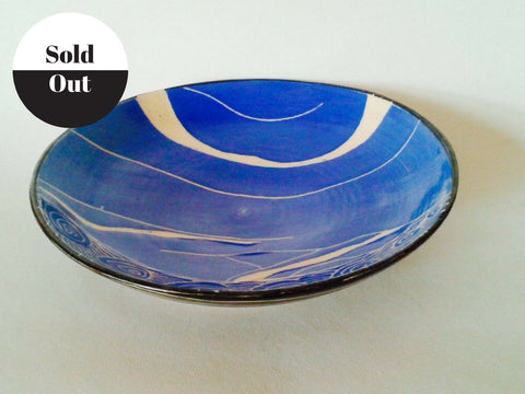 Blue Ceramic Hand Made Bowl from Rebecca English.