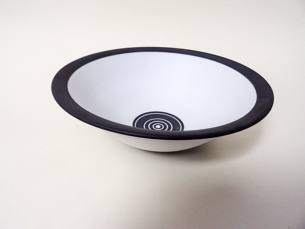Designer piece, ceramic black and white bowl, handmade by the Cornish ceramicist Ben Barker.