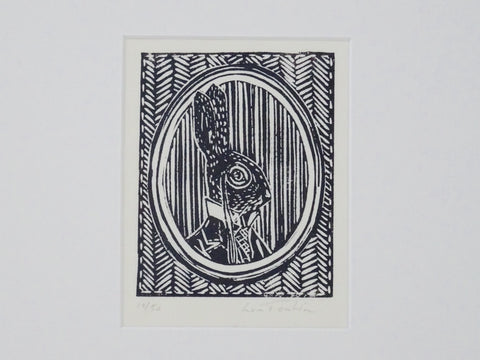 Mounted print of a dressed hare from Cornwall. Printed by hand from one hand cut block. Print is one of fifty.