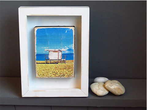 Porthminster beach on block in distressed wood frame.