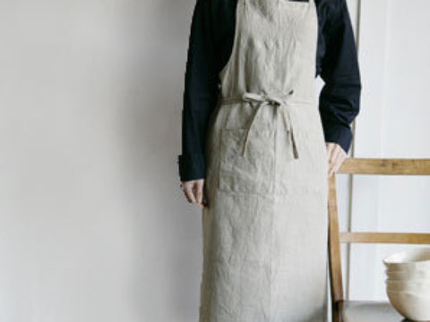 Cover up when cooking or doing your pottery with this elegant natural linen apron.