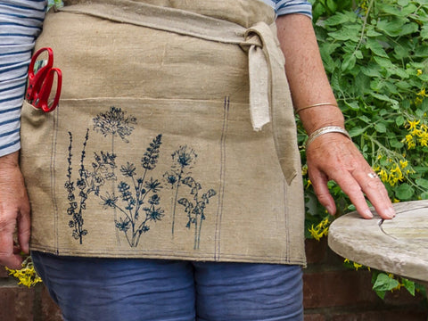 Handprinted 100% Linen gardeners tool apron from Helen Round. Up cycled from from a seafarers sack!