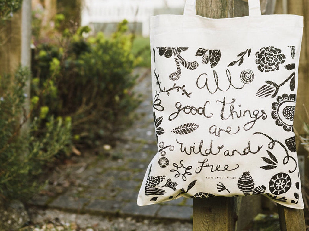 Handmade 100% cotten Illustrated Tote bag. Made by Mellybee in Falmouth, Cornwall.