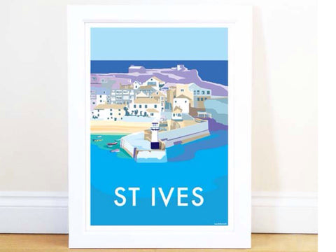 St Ives Travel Poster and Seaside Print