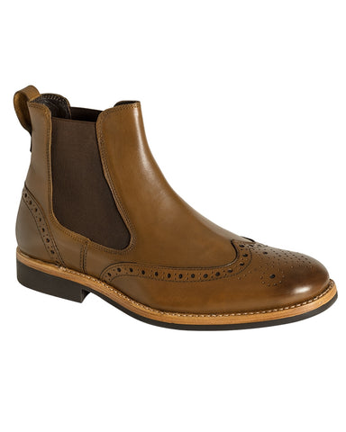 Hoggs of Fife Stanley Semi-Brogue Dealer Boots - Burnished Tan