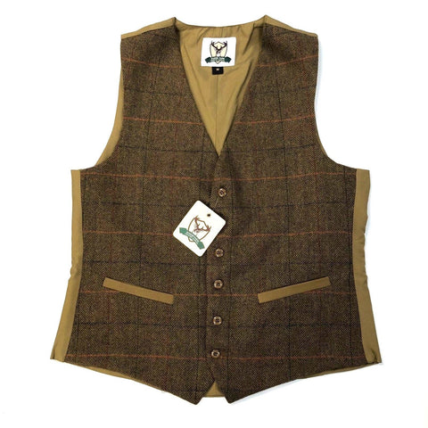 Marsh Tweed Herringbone Dress Waistcoat - Light Brown