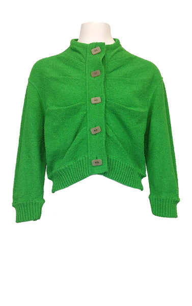 Button Short Cardigan - Grass Green