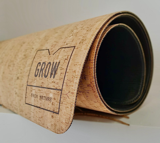 Yoga Mat made of natural cork, rustic cork pattern