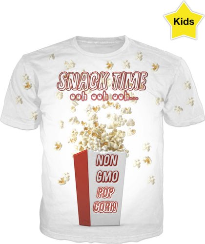 Snack Time Non GMO Pop Corn Shirt Kids