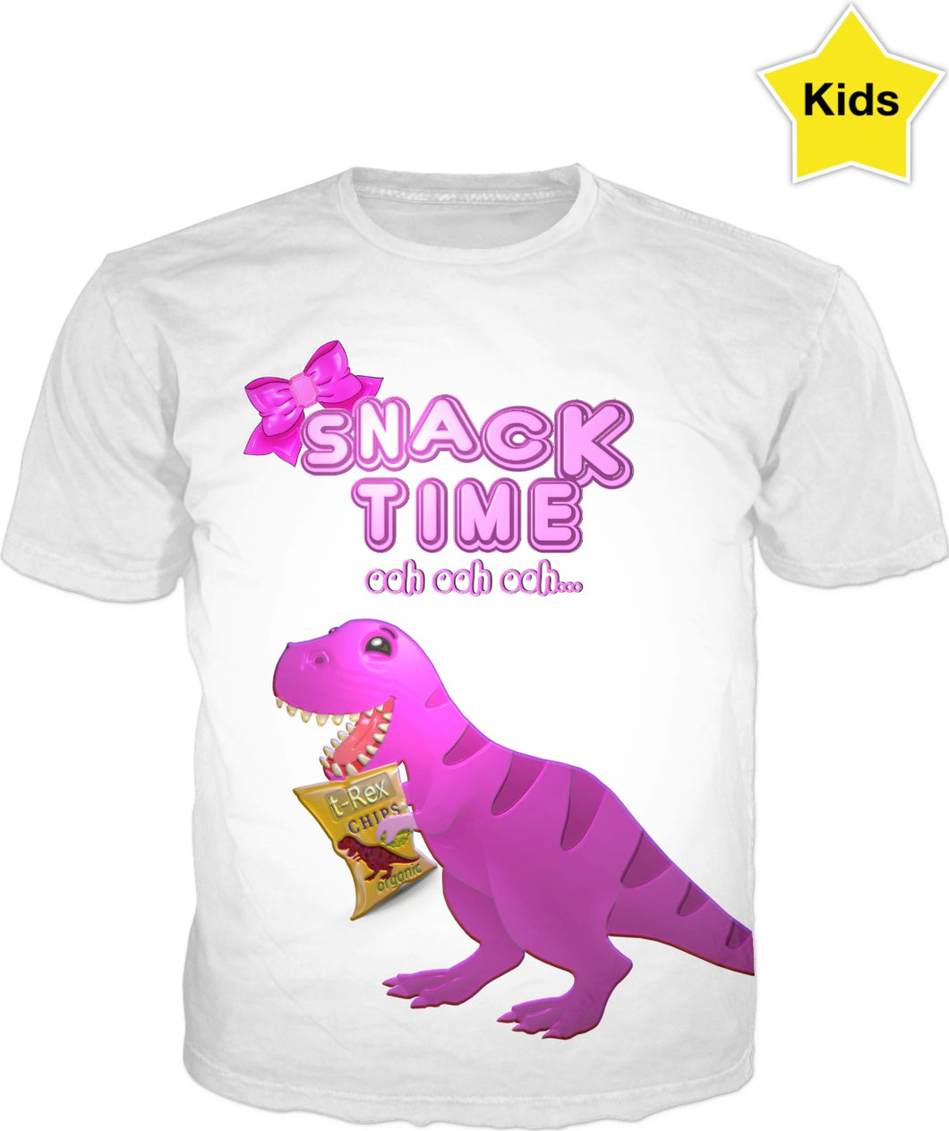 Snack Time ooh ooh ooh Chip The T-Rex Kids Girl Shirt