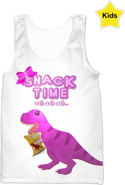 Snack Time ooh ooh ooh Chip The T-Rex Kids Girls Tank Top