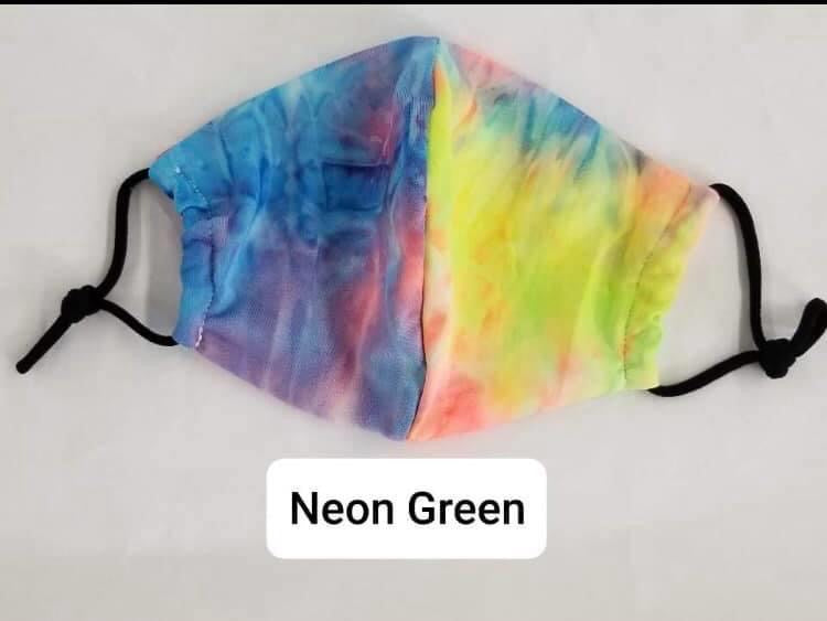 Neon Green Tie dye face mask