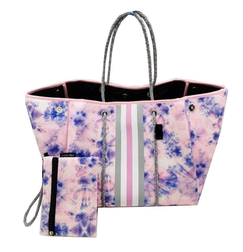 Camo Tote bag pink and blue with make up bag.