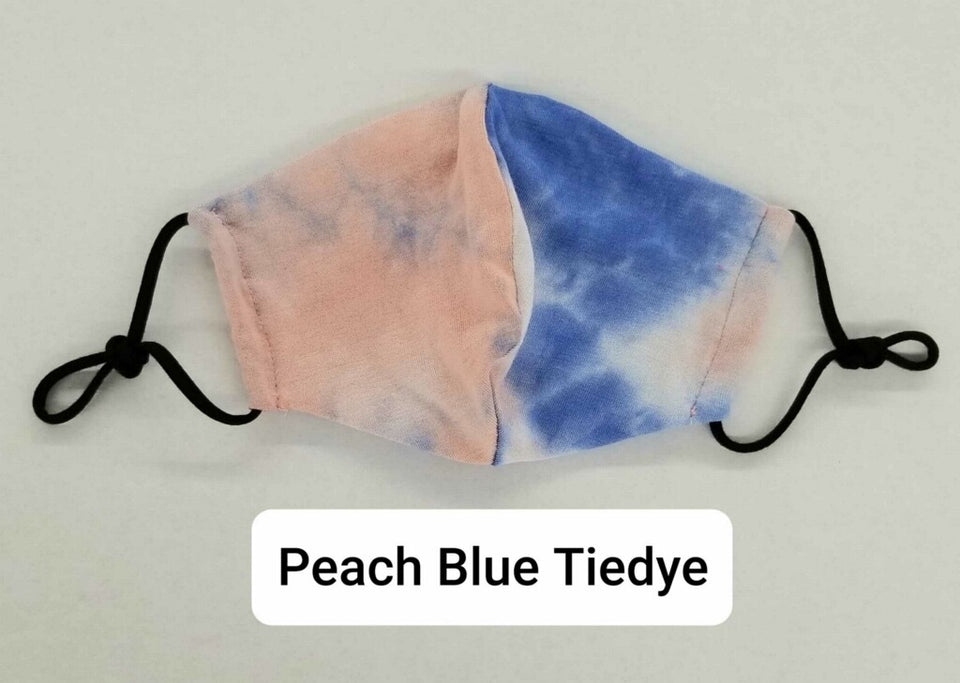 Peach Blue Tie dye Designer mask