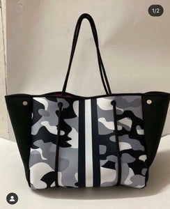 Camo Tote bag black and white Free Shipping.