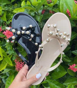 Jelly Sandals with Pearls - Black and Nude Colors