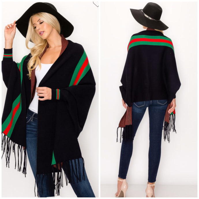 Cardigan Shaul Red stripe free shipping