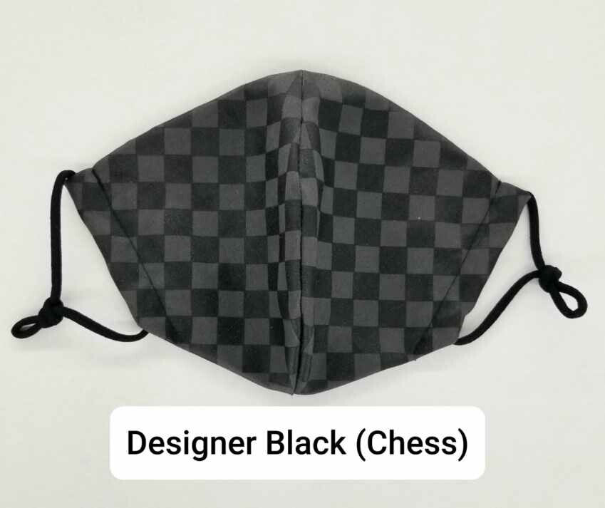 Black LV Chess Washable mask