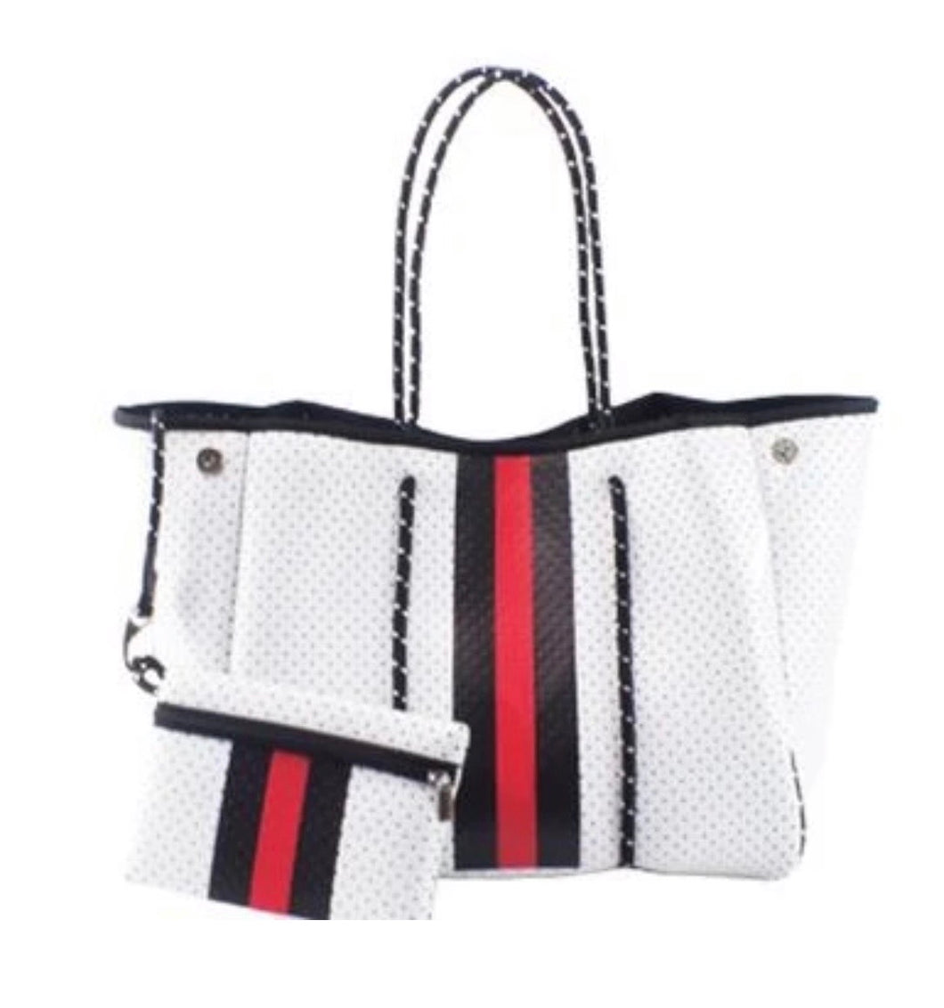 White Handbag Tote with red stripe Free Shipping.