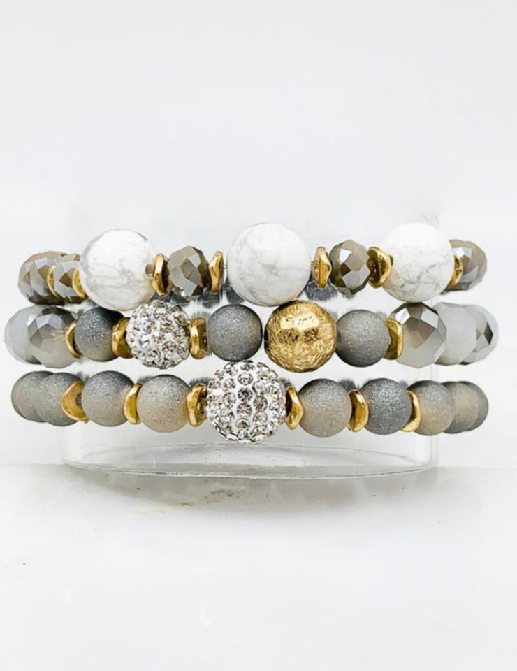 Beaded Bracelet Silver and Gold Colors