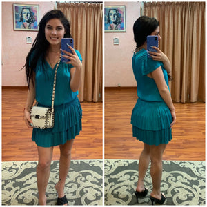 Smocked waist pleaded mini dress Ocean blue