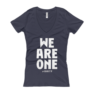 WE ARE ONE Women's V-Neck Slogan T-shirt