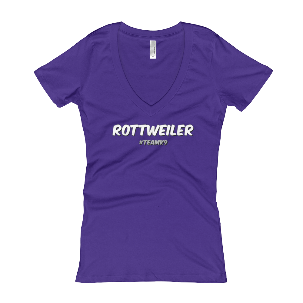Rottweiler Team k9 Women's V-Neck Slogan T-shirt