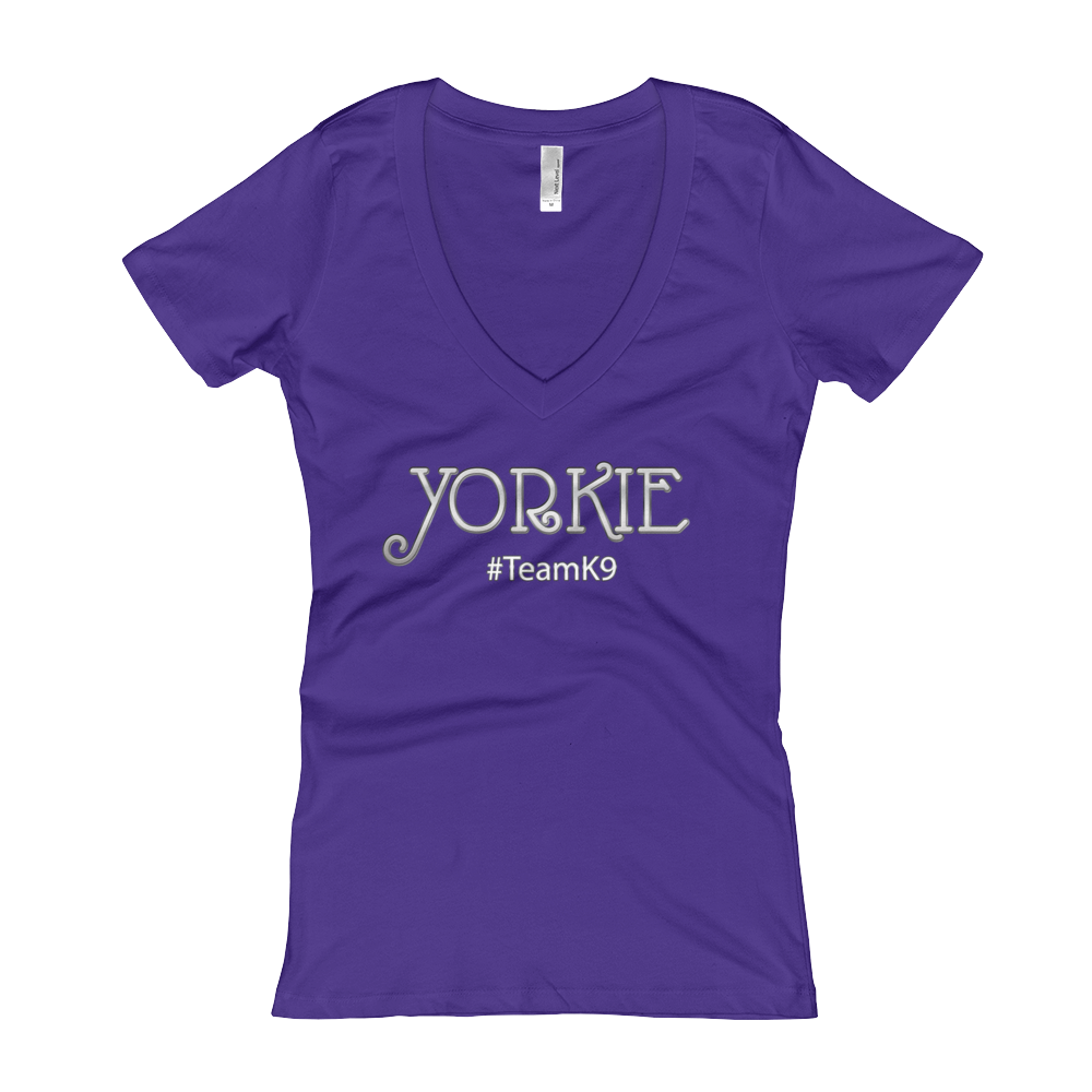 Yorkie Shirt TeamK9 Women's V-Neck Slogan T-shirt