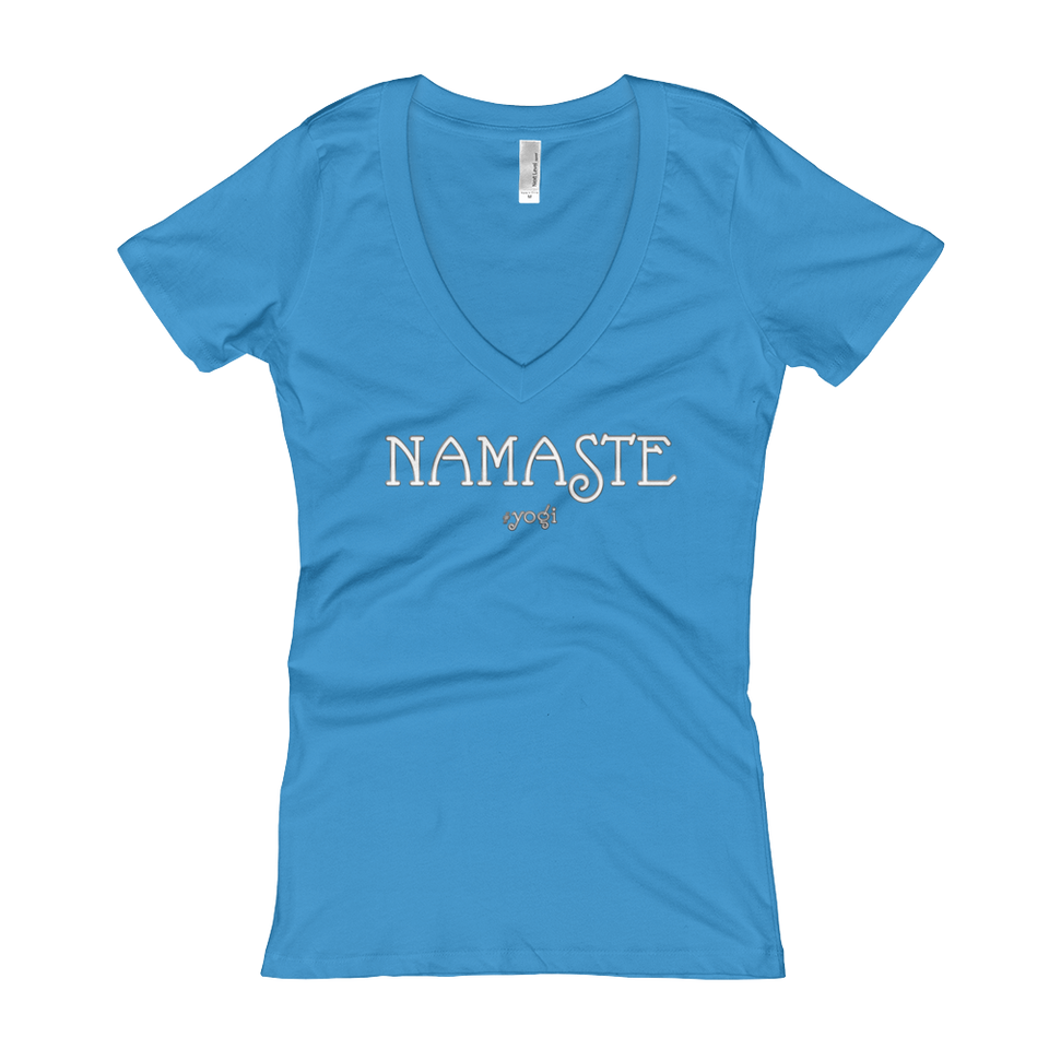 Namaste Women's V-Neck Slogan T-shirt