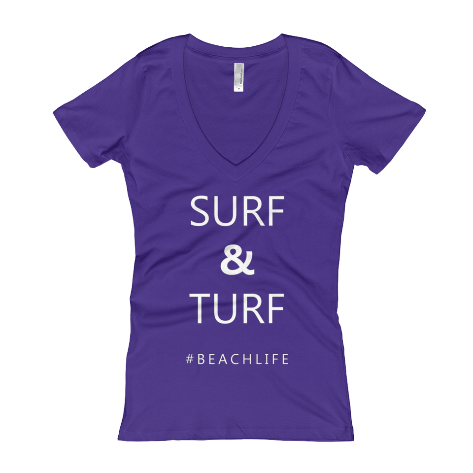 Surf and Turf  Women's Slogan V-Neck T-shirt