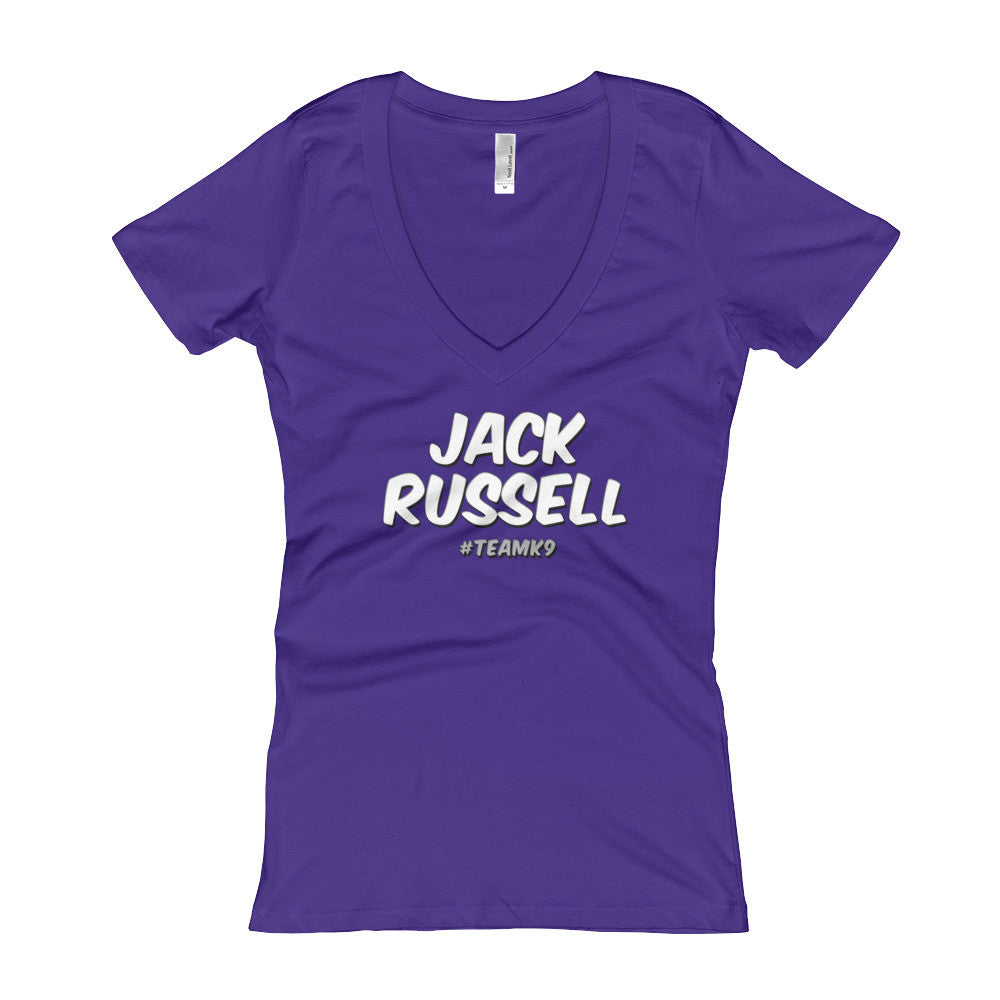 Jack Russell Shirt Team K9 Women's V-Neck Slogan T-shirt