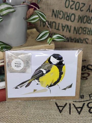 Greetings Card with wild bird seed