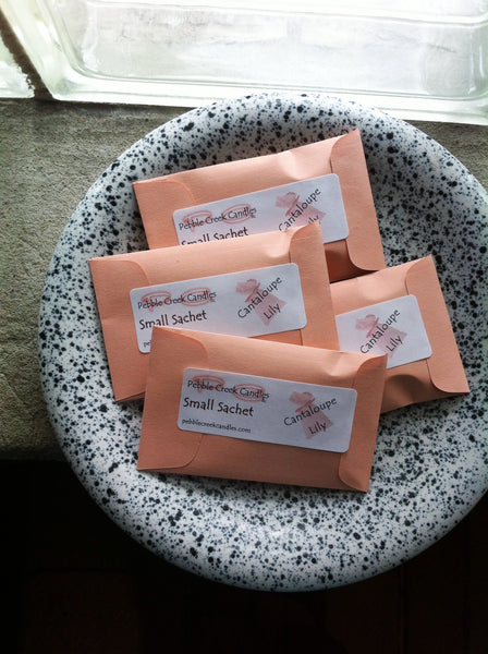Peach Color Sachets in Cantaloupe Lily or Pick Other Scent - Pebble Creek Candles