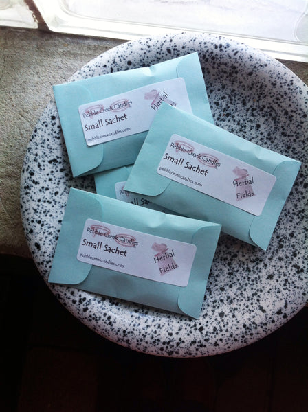 4 Cute Aqua Sachet Seed Packet Gift Idea Pick Scent - Pebble Creek Candles