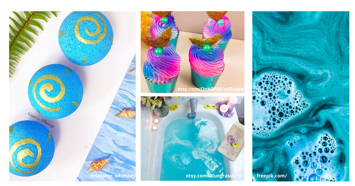 ocean themed bath bombs and blue water