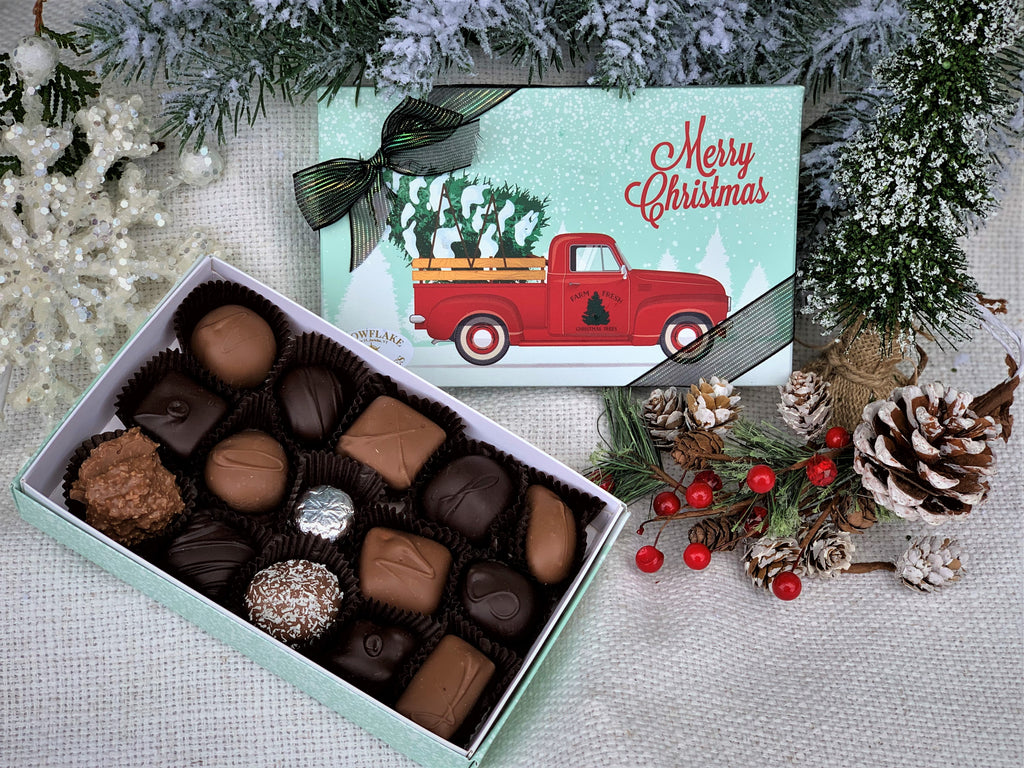 red truck, tree farm, assorted chocolates, Christmas assorted chocolates, retro red truck