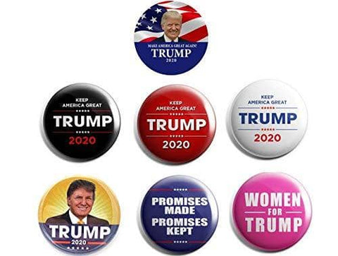 2 1/4 inch President Trump 2020 Campaign Buttons Pack of 6 with FREE Bonus - Trumpshop.net
