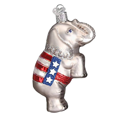 GOP Elephant Republican Christmas Ornament Glass Blown Ornament for Christmas Tree