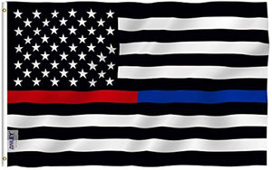 Thin Blue Line and Red Line USA Polyester Flag