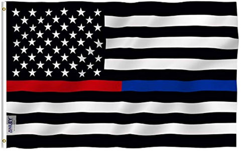 Thin Blue Line and Red Line USA Polyester Flag - Trumpshop.net