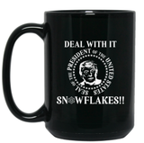 Deal with it Snowflakes 15 oz. Black Mug - Trumpshop.net