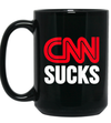 CNN Sucks 15 oz. Black Mug