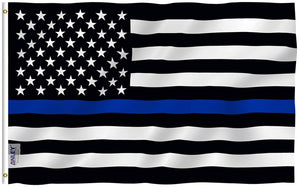 Thin Blue Line USA Flag Law Enforcement Polyester Flag