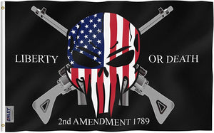 Liberty or Death 2nd Amendment 1791 Vintage American Flags Polyester with Brass Grommets 3 X 5 Ft - Trumpshop.net