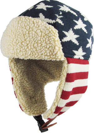 Unisex Flag Winter Trooper Hat - Ear Flap Chin Strap and Windproof Mask