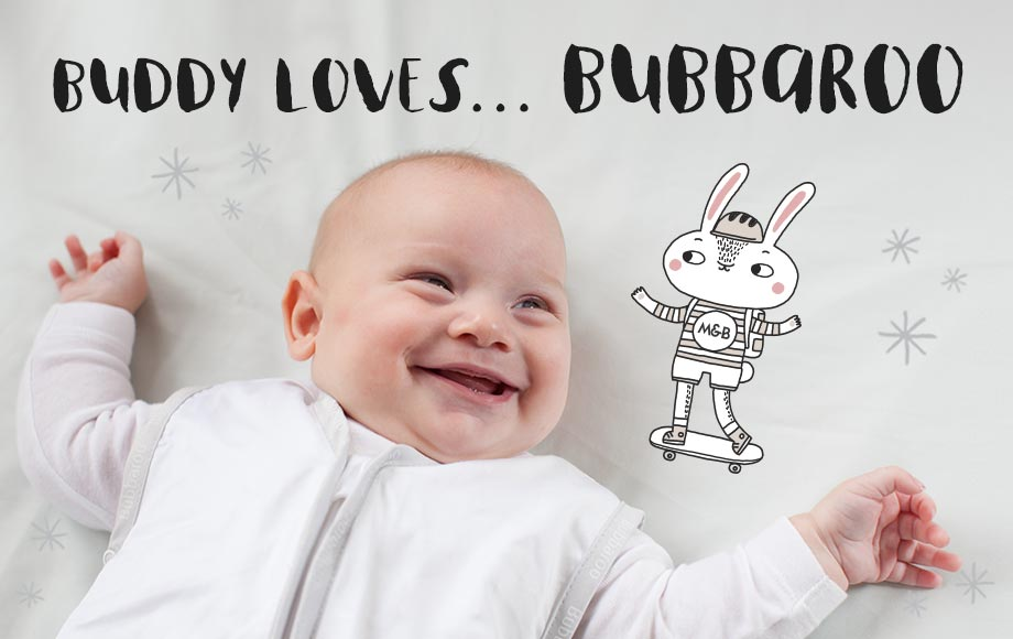 baby laughing with text Buddy Loves... Bubbaroo