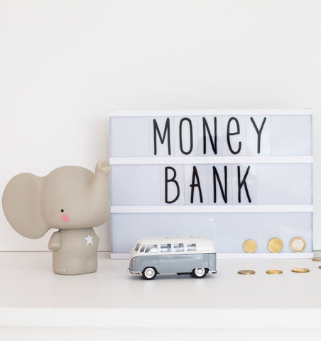 Buy the A Little Lovely Co Grey Elephant Money Box by A LITTLE LOVELY COMPANY from Me and Buddy