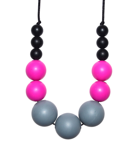 Buy the Kitty Teething Necklace in Grey, Fuchsia and Black by BO&BEL from Me and Buddy